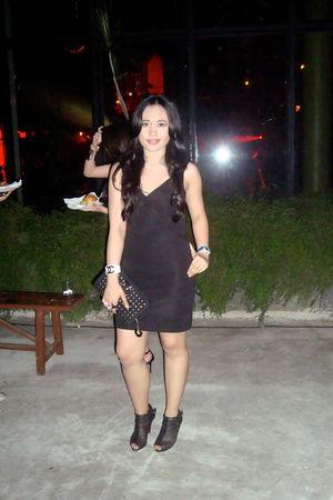 black herve leger dress - black Christian Louboutin shoes - Rotelli - Chanel bra