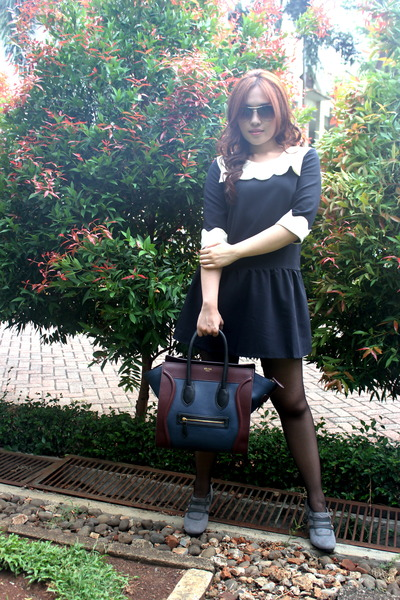 Topshop stockings - dress - Celine bag - Louis Vuitton glasses
