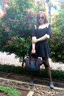 Dress-celine-bag-louis-vuitton-glasses-topshop-stockings