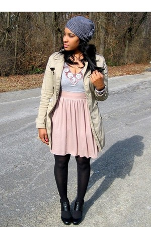 light pink Charlotte Russe dress - beige trench Forever 21 coat - charcoal gray 