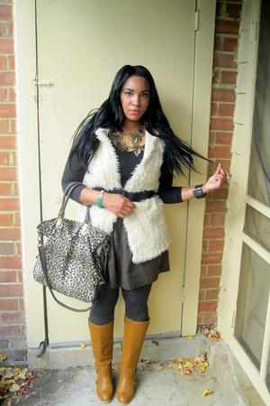 mustard Charlotte Russe boots - camel leopard print Forever 21 bag