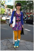white accessories - blue shoes - orange leggings - purple dress - blue cardigan