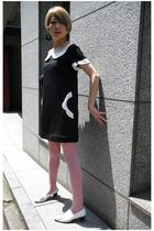 pink tights - black accessories - black Mary Quant dress - white earrings - whit