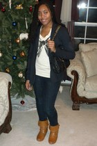 black Forever 21 blazer - cream Forever 21 shirt - navy papaya jeans - black For