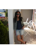beige hat - green jacket - blue Charlotte Russe shirt - blue Forever 21 shorts -