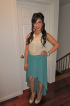 turquoise blue papaya skirt - cream sheer papaya top - nude heels