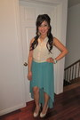 Cream-sheer-papaya-top-turquoise-blue-papaya-skirt-nude-heels