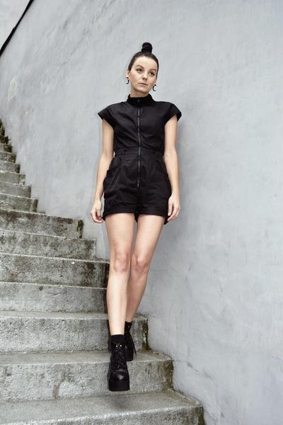 black lace up sammydress boots - black second hand H&M romper