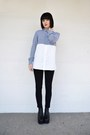 Black-flatforms-deezee-boots-navy-two-colours-neil-barrett-shirt