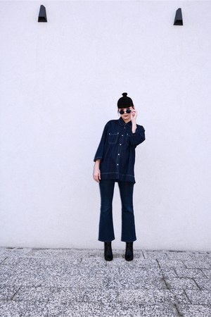 navy denim no name shirt - black H&M boots - navy lennons no name sunglasses