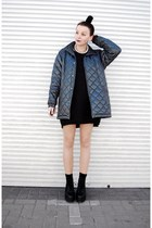 silver H&M ring - black pu Sequin boots - teal bomber second hand jacket