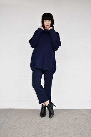 navy oversized second hand jumper - navy elegant second hand pants