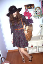 purple H&M dress - black BIJU hat - brown Bershka purse - brown vintage belt - b