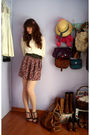 White-zara-top-green-unknown-brand-belt-red-self-made-skirt-beige-calzedon