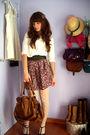 White-zara-top-green-unknown-brand-belt-red-self-made-skirt-beige-calzedon