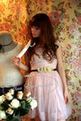 Pink-h-m-dress-yellow-self-made-belt-beige-selfmade