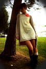 White-h-m-dress-beige-bershka-cardigan-beige-oysho-socks-gray-portuguese-b