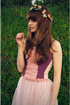 pink H&M dress - pink intimissimi vest - yellow Aldo shoes - beige self-made