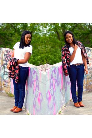 floral print hm jacket - blue hm jeans