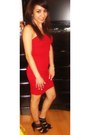 Red-bandage-dress-forever-21-dress-gold-forever-21-earrings-booties-target-h
