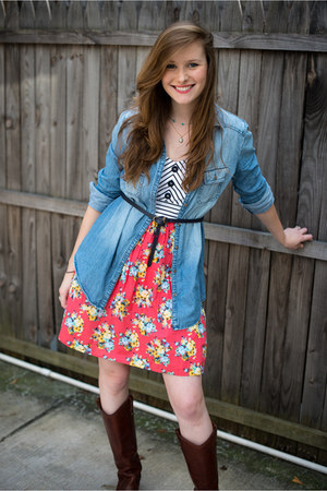 Rubbish shirt - riding Frye boots - floral print modcloth dress - navy Zara belt