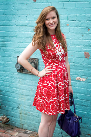 red floral modcloth dress - kate spade purse