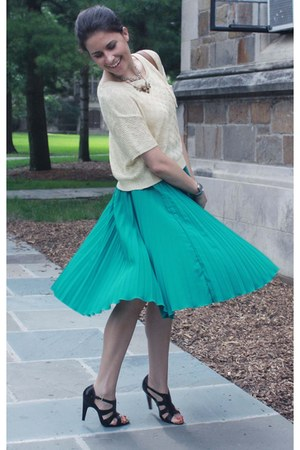 teal asos skirt - cream Forever 21 sweater - dark brown Tahari sandals