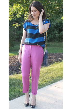 blue Urban Outfitters top - navy tory burch bag - magenta JCrew pants