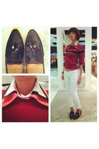 black suede heels - white skinny jeans jeans - maroon knitted Vanheusen sweater