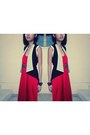 Red-maxi-cotton-on-dress-tawny-belt-black-vest