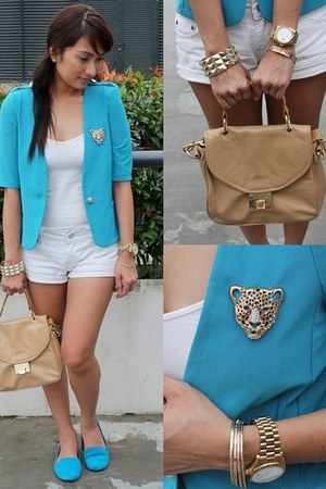 soiree blazer - Topshop bag - Zara top - American Eagle loafers