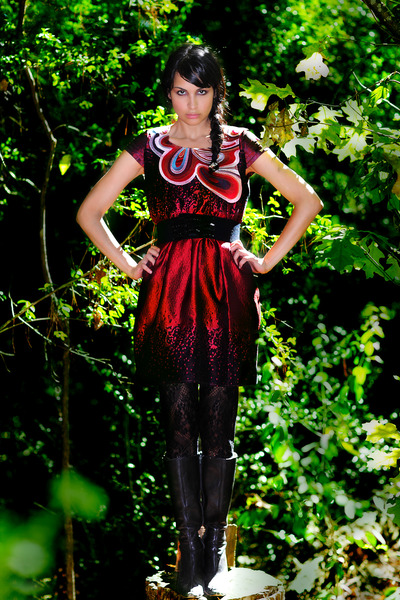 ruby red no tag dress - crimson leather boots
