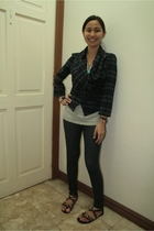 Topshop blazer - Topshop leggings - Space shirt - cutesygirlcom shoes