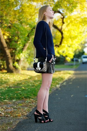 black The Row skirt - navy t by alexander wang sweater