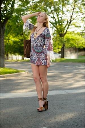 aquamarine crochet Sloane Rouge romper - light brown tote Latico bag