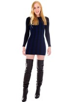 black thigh high leather boots - navy bodycon Houndstooth dress