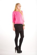 black alaia boots - hot pink crew neck Tibi sweater