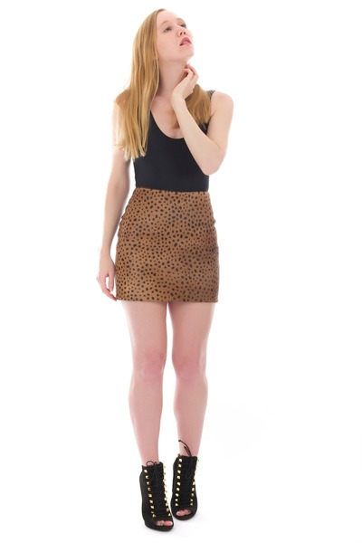 black ankle studded boots - brown leather cheetah skirt
