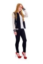 navy bomber Varsity jacket - black legging Skinny jeans