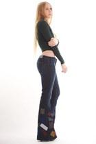 green zigzag stitch Alexander Wang sweater - black platform ankle Miu Miu boots