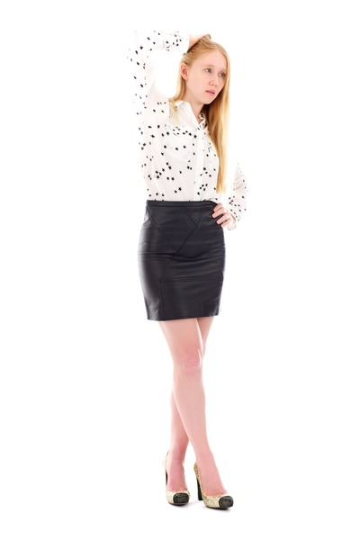 black leather Seamed skirt - white silk STAR blouse