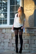 black Topshop boots - black asos tights - black siwy jeans shorts - white RVCA t