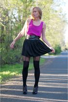 black asos tights - purple Heather Williams shoes - black Dolce Vita skirt - pin