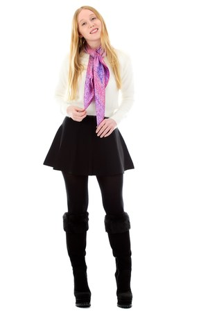 bubble gum silk ÉSTAINE scarf - black knee high alaia boots