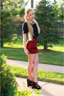 Black-dior-shoes-red-american-apparel-skirt-black-kain-label-top-silver-be