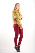 plaid stiletto Current Elliott jeans - ALC sweater - grommet alaia sandals