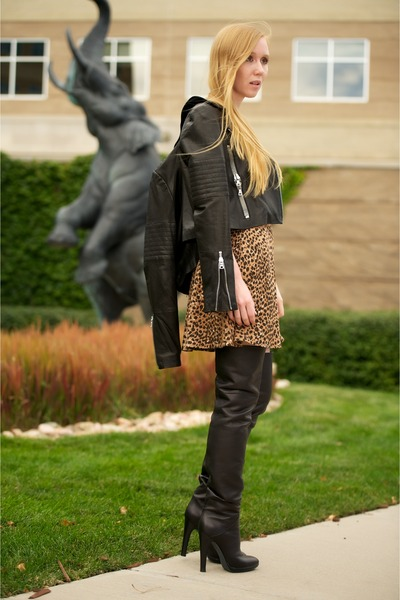 Light Brown Circle Leopard Dresses Black Thigh High