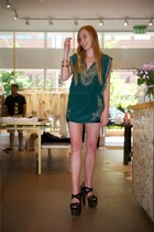 green mila Calypso st barth top - black lola leather shorts