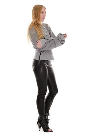 heather gray hoodie Unravel sweatshirt - black lace up Alexander Wang boots