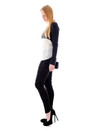 navy crop Isabel Marant sweater - black leather Alice  Olivia leggings
